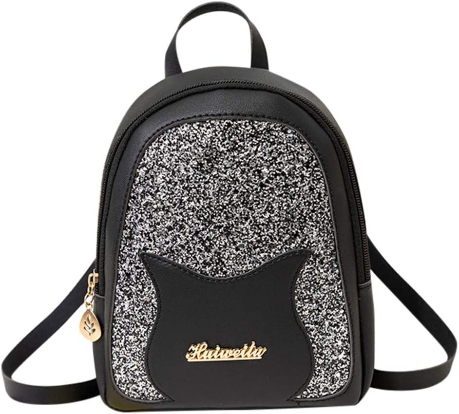 Black Fashion Sequin Lady Shoulders Small Backpack Letter Purse Mobile Phone Messenger Bag