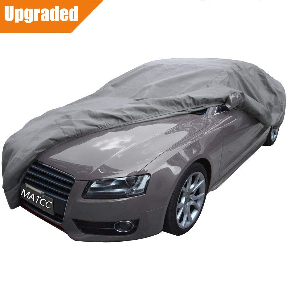 MATCC Car Cover Waterproof Breathable Windproof/Dustproof/Scratch Resistant Outdoor UV Protection Full Car Covers Anti Freeze Car Covers Fits Sedan L (470 * 180 * 150cm)