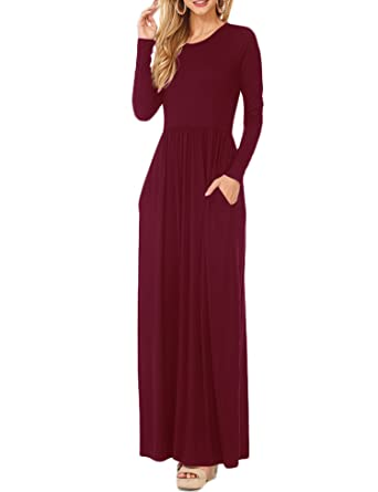 b168810fd6 Vemper Women Long Sleeve Loose Plain Long Maxi Casual Dress with Pockets,Wine  Red,