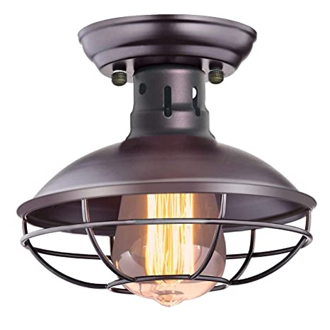 Chiclux Industrial Vintage Ceiling Light Metal Cage Pendant Lighting Oil Rubbed Bronze Semi Flush Mount Ceiling Light For Hallway Kitchen Garage Porch