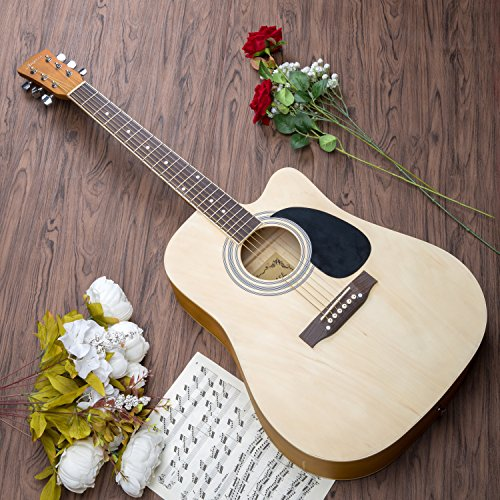 Artall 41 Inch Handmade Solid Wood Acoustic Cutaway Guitar Beginner Kit with Tuner, Strings, Picks, Strap, Matte Natural