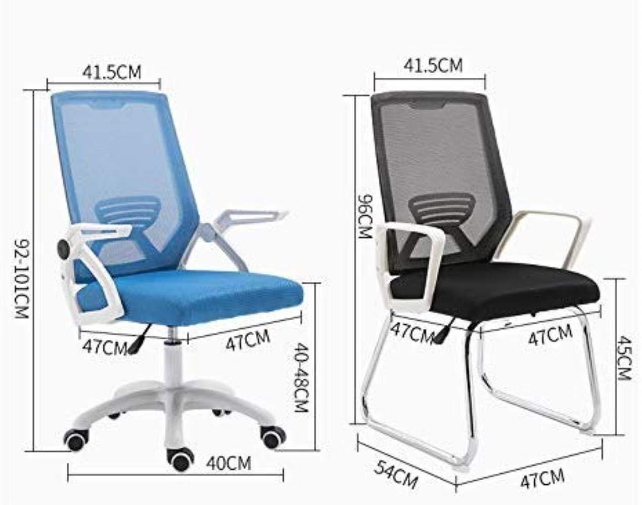 Kontorsstol LHY- ergonomisk hem konferens bekväm sovsal studentstol ryggstol hållbar (färg: Blå) Svart