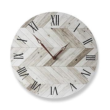 HyFanStr Reloj de Pared Moderno, Ruido de Tic TAC, silencioso, para salón, Cocina y Dormitorio, Madera, Holz F: Amazon.es: Hogar