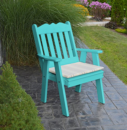 POLYWOOD DINING CHAIR, Outdoor & Dining Table Chairs, Poly Wood Armchair, Outside Patio Seating Furniture, Scalloped Arm Chair Porch Seat, Solid Eco Friendly Recycled Plastic, 13 Choices (Teal Blue)
