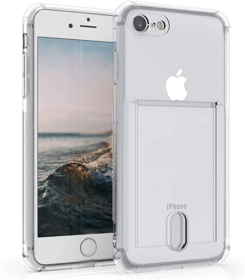 kwmobile Crystal TPU Case Compatible with Apple iPhone 7/8 / SE (2020) - Protective Phone Case with ID Card Slot Holder - Transparent