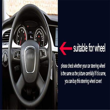 LUOERPI Cubierta del Volante de Cuero Negro Beige Cosida a Mano para Audi Old A4 B7 B8 A6 C6 2004-2011 Q5 2008-2012 Q7 2005-2011