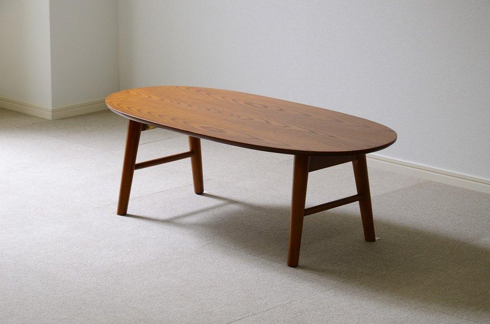 北欧調のおしゃれでシンプルな木製センターテーブル オーク 丸型脚折れ(ローテーブルリビングテーブル) B073WVJ5HL  オーク(ブラウン) 丸型脚折れ