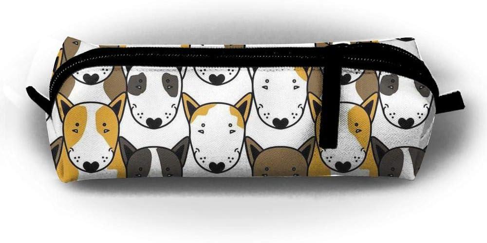 TDynasty Cute Funny Pitbull Portable Students Stationery Organizer Pouchs Box Zipper Bag Coins Purse Gift