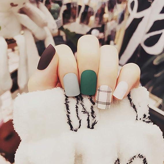 CoralStore - 24 uñas postizas de uñas postizas de diseño corto, cobertura completa de uñas postizas: Amazon.es: Belleza