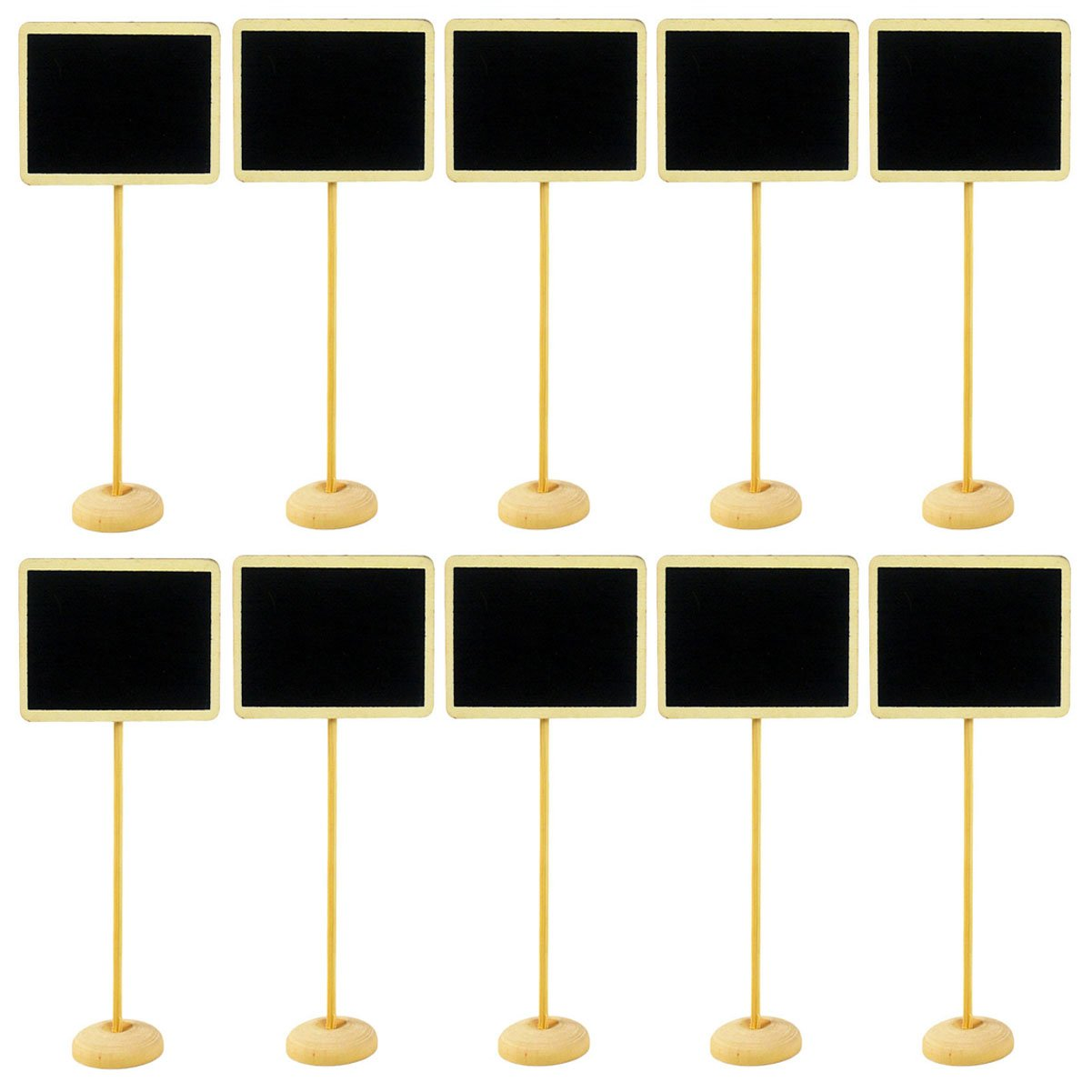 10 Pcs Wooden Mini Chalkboard Label with Stand - Mini Blackboard Message Board Signs Decorating Signs Table Number Price Tag for Wedding Party and Home Store Decor (Rectangle)