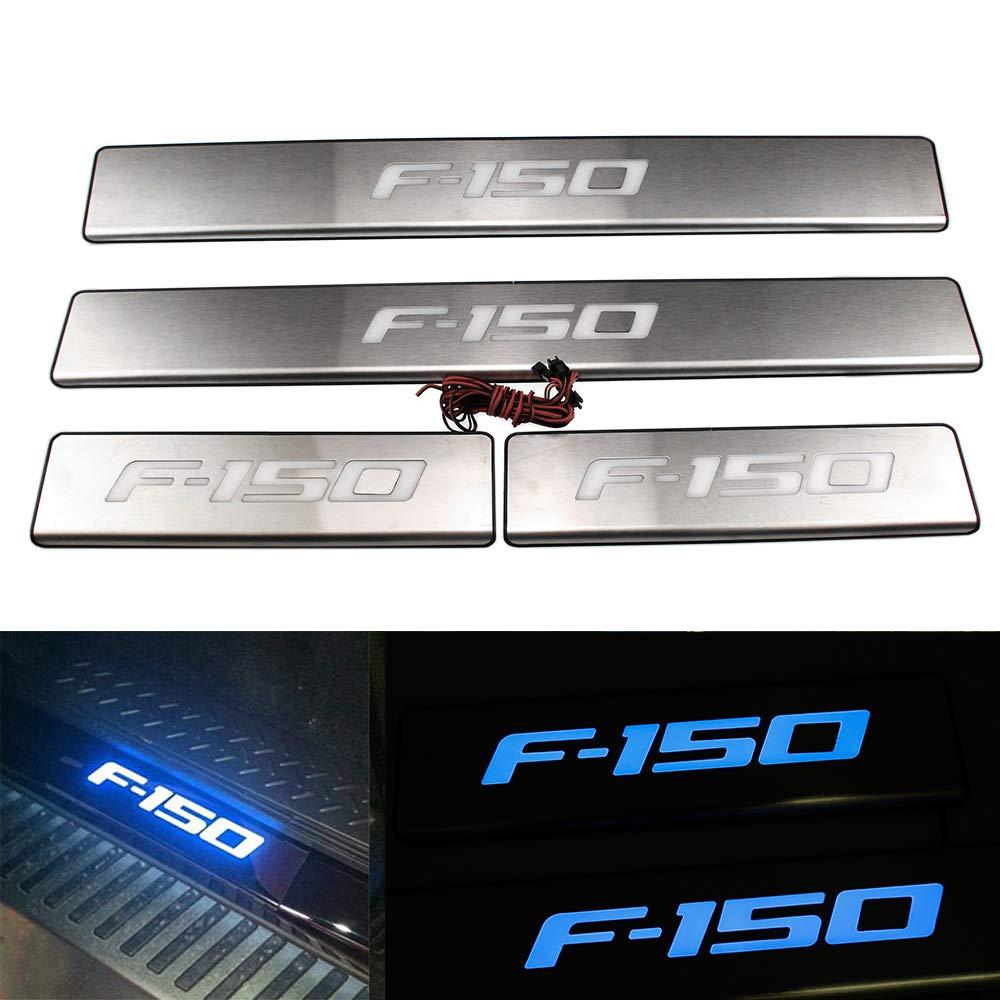 profei Blue LED Light Illuminated Door Sill Scuff Plate for Ford F150 2009 2010 2011 2012 2013 2014 2015 pengfei