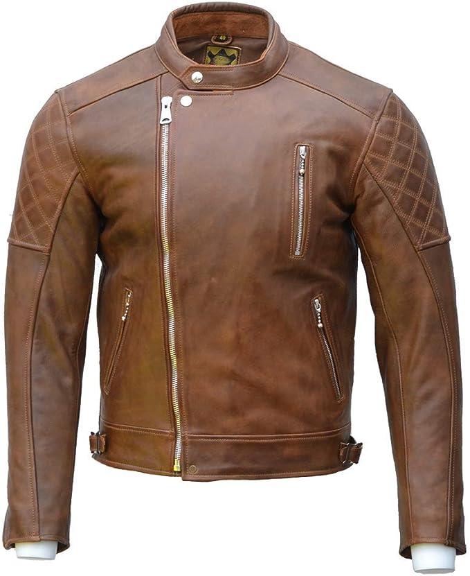 chaqueta piel marron cafe racer