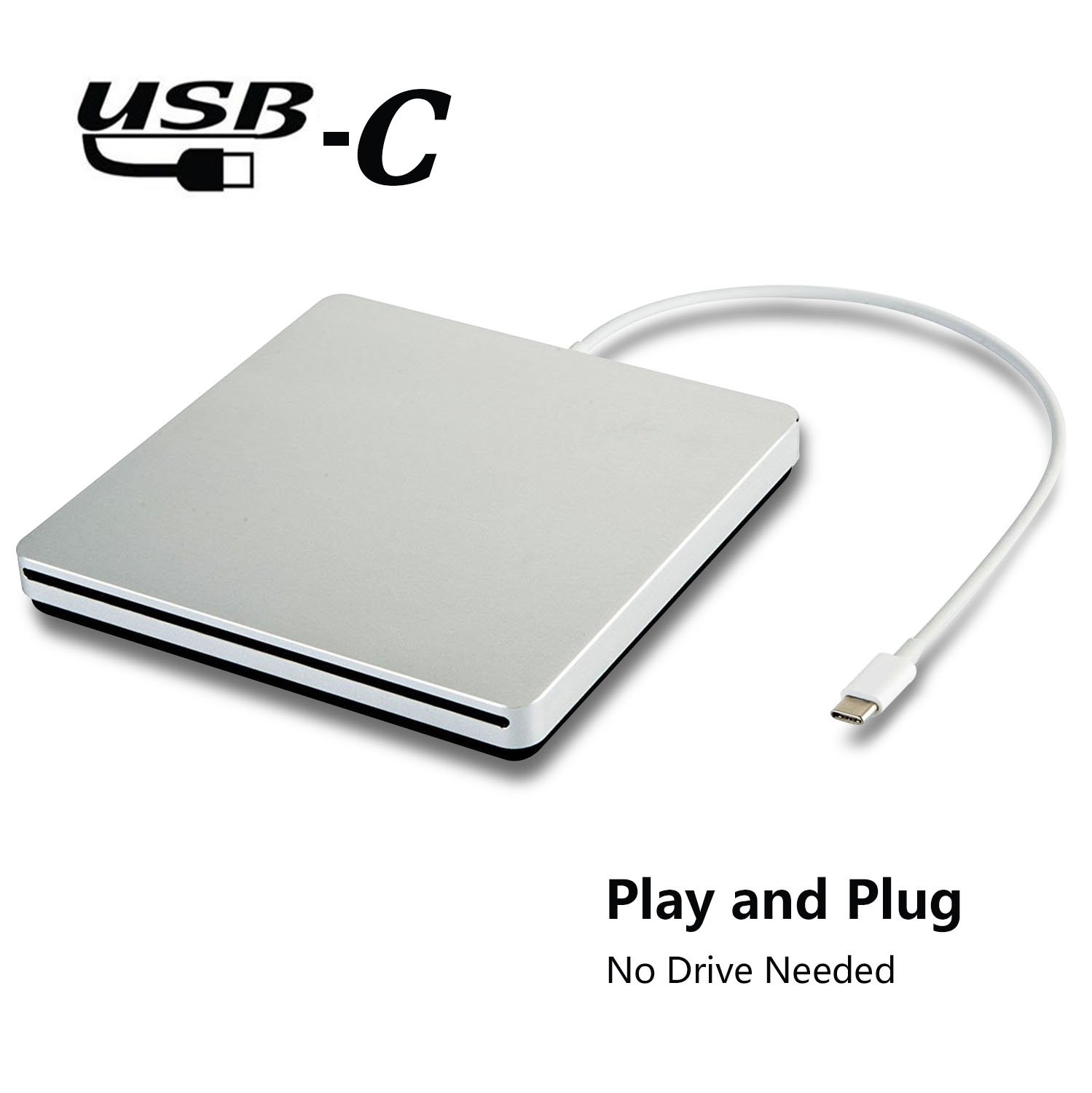 tengertang Type-C Super External Drive,USB Portable External DVD/CD Drive Burner/Reader/Rewriter for The Latest MacBook/MacBook Pro/ASUS/DELL Latitude with USB-C Port (Silver.)