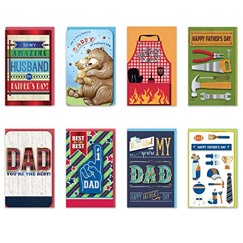 8 Handmade Cards Stationery (Happy Father's Day Cards Pack of 8 Different Handmade Greeting Cards Embellished with Love Boxed Fathers Day Cards for Dad. Envelopes Included)