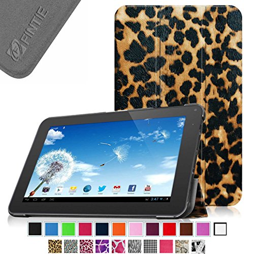 Fintie Slim Shell Case Cover for 10.1 Inch Android Tablet inclu. Dragon Touch A1x Plus / 2016 Edition / A1x / A1/ A1X Plus II, iRULU eXpro X1s 10.1, Alldaymall A10x 10.1, Valuepad VP112 10, Andteck Touchtab 10.1 Inch A83t / A31s (Please Check the Complete Compatible Tablet List Under Product Description) - Leopard Brown