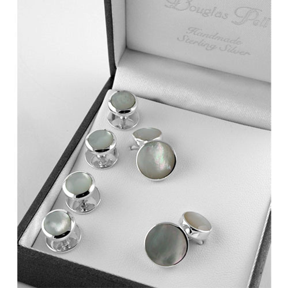 Baxters Jewellers Sterling Silver Mother of Pearl Shirt Stud & Cufflink Set Douglas Pell Box15