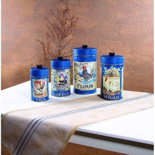 Rooster Kitchen Canister - Tea Coffee Flour Sugar Rooster Hen French Style Tin Food Safe Canisters with Lids Set of 4