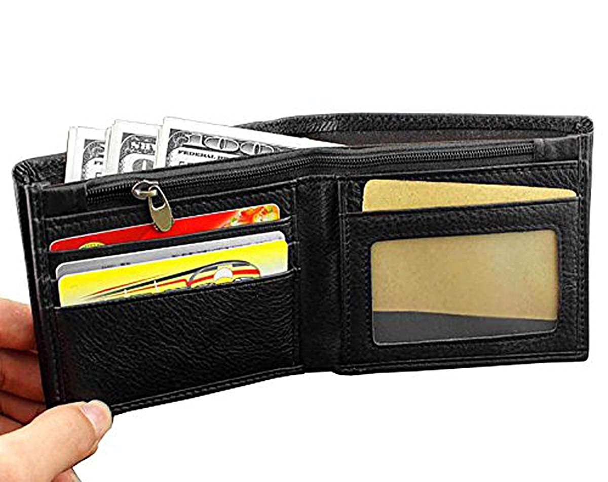 Expandable L79 Punkman2000 Real Leather Wallet with Chain for Mens