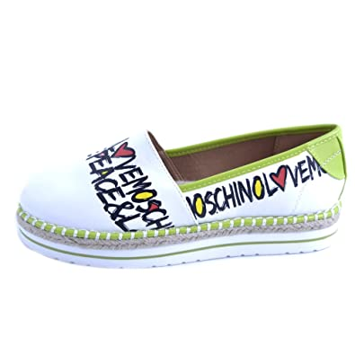 d57331b0aa975 Love Moschino Women's Peace & Love Espadrille White/Lime Green 41 M ...