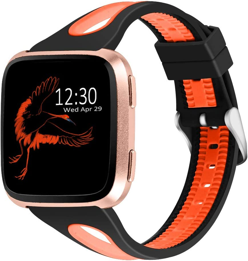 Joyozy Sport Bands Compatible with Fitbit Versa 2&Fitbit Versa Lite&Fitbit Versa&Fitbit Versa SE Smartwatch,Silicone Small Breathable Soft Strap Replacement Wristbands for Women Black&Orange