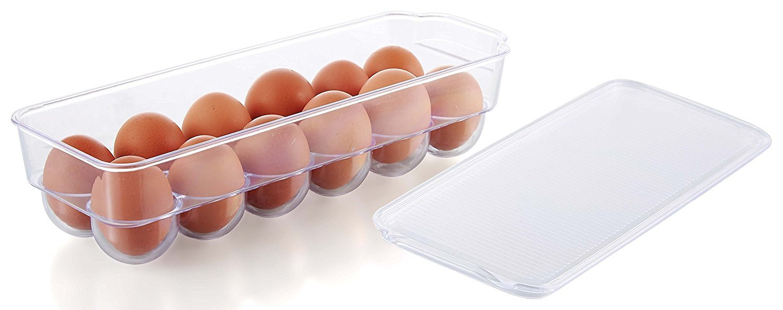 Kuuk Fridge Egg Tray - Holder Container Box for 12 Large Eggs with Lid