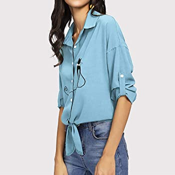 Yesmile Mujer CamisetasLas Mujeres Camisa Camisa de Dobladillo Anudada del Gato del Gato Bordado de Las Mujeres Blusas de botón de la Blusa de Manga Larga: Amazon.es: Ropa y accesorios