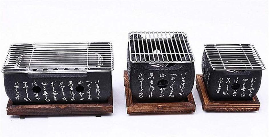 Parrilla de mesa para barbacoa, tradicional japonés Hibachi, parrilla de mesa portátil, estufa de barbacoa de carbón con bandeja de horno antiadherente 24 * 13 * 12cm(Large)