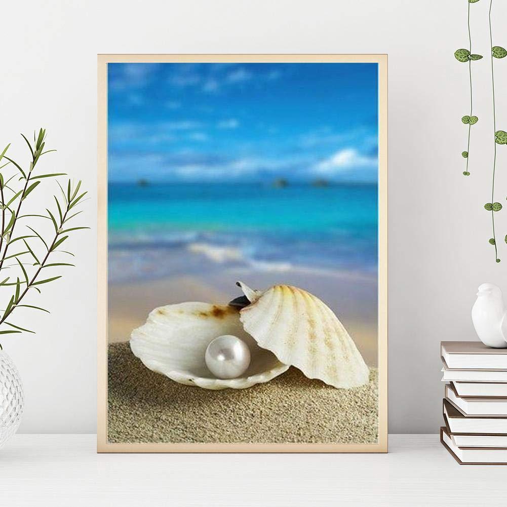 bricolaje bordado manualidades Prosperveil 5D dormitorio Kit de pintura con diamantes de imitaci/ón para la playa lienzo de punto de cruz decoraci/ón de pared Conch Shells para sala de estar