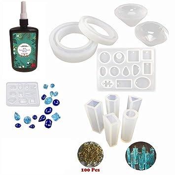 Kit Resina Epoxi UV Cristal Transparente para Joyas 250g + 11 Moldes Silicona (31 Formas