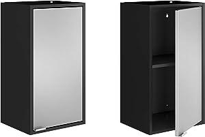 Manhattan Comfort Smart Modern Kitchen Floating Cube Cabinet, 2 Piece, Black/Grey