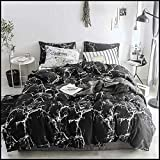 Jumeey Duvet Cover Set Black Marble Bedding Set Twin Boys Teen Girls White Abstract Texture Comforter Set with Zipper Ties 1 Duvet Cover 2 Pillowcases Luxury Quality Soft Comfortable Easy Care