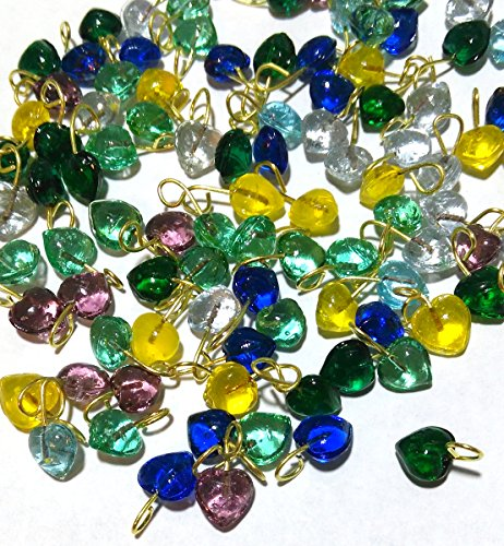 Tiny Glass Heart Drops In Assorted Colors 5mm Lot of 100 (Glass Heart Drop)