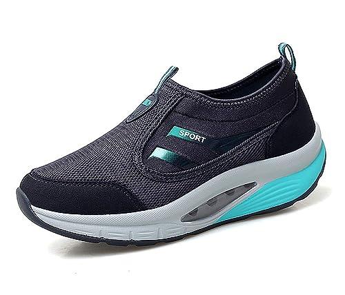 lovejin Mujer Zapatillas Deportivas de Correr Plataforma Cuña Zapatos Moda Fitness Adelgazar Planos Sneakers: Amazon.es: Zapatos y complementos