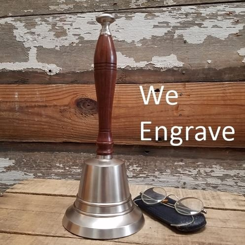 Engraved Bell - Engraved Pewter Finish Brass Hand Bell 12 Inch