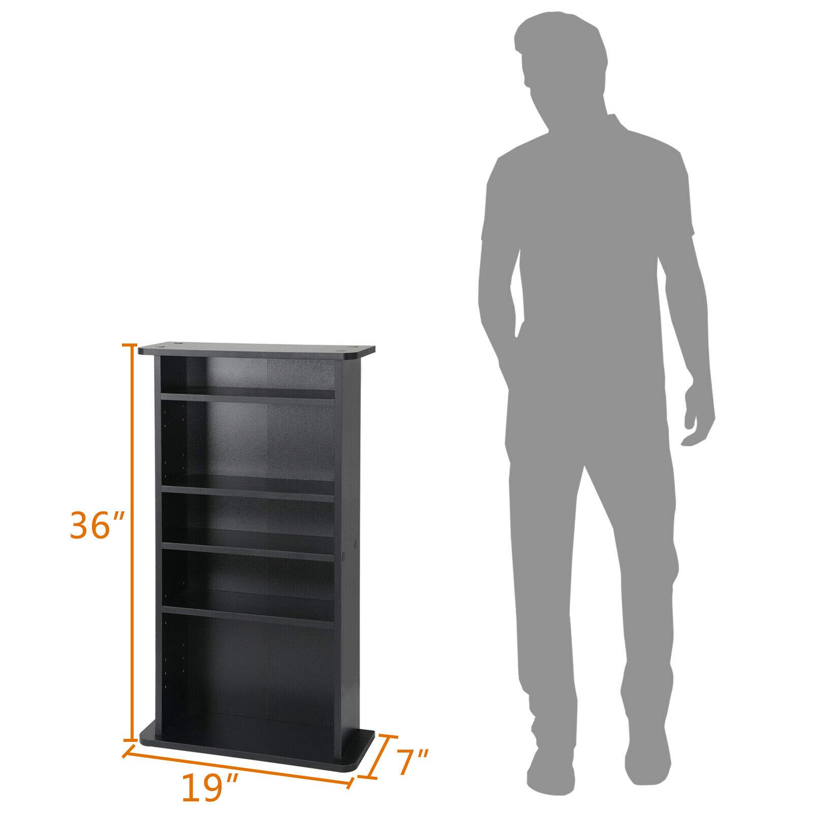 PloybeeShop Height DVD CD This Media Cabinet Storage Adjustable 5 Layers Stand Free Standing 36'' by PloybeeShop (Image #2)