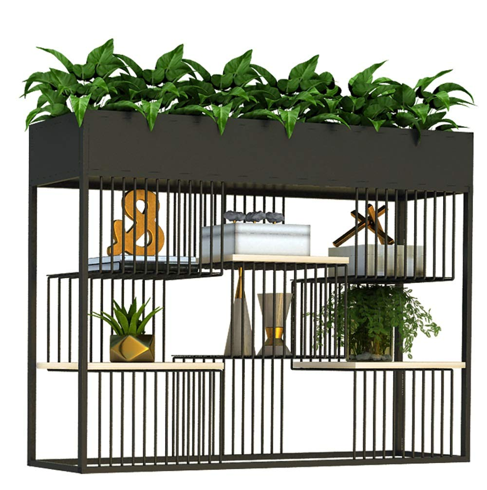 HU Attico del Vento Industriale Partizione Flower Stand Balcone Decorazione Telaio Multi-Strato Indoor Floor Stand Flower Stand (colore   Nero, Dimensioni   L.)