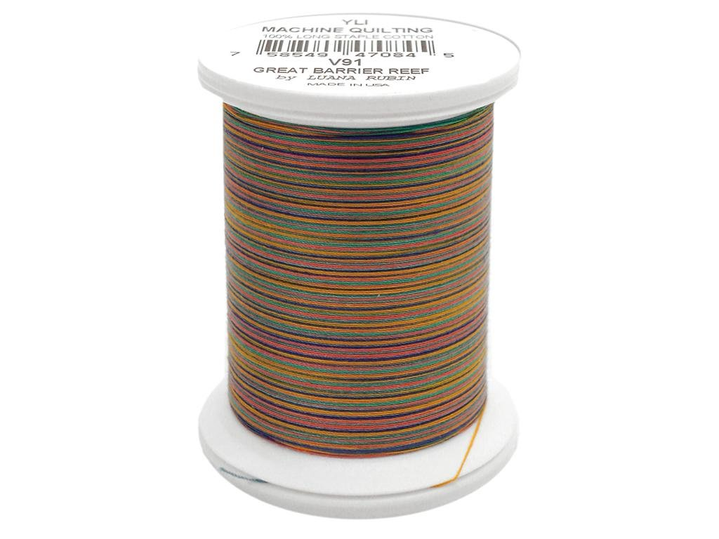 500 yd Forest Green YLI 24450-24V 3-Ply 40wt T-40 Cotton Quilting Variegated Thread