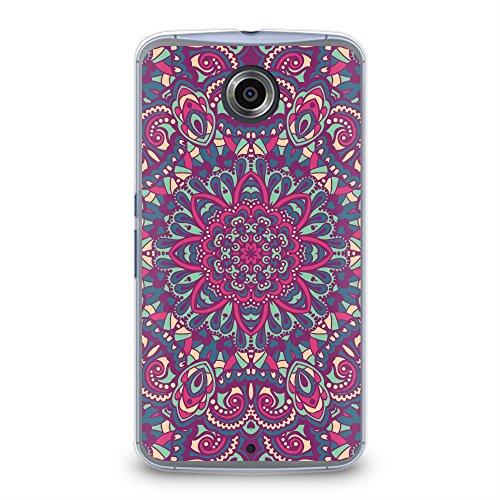 Case for Nexus 6, CasesByLorraine Purple Mandala Floral Pattern Plastic Hard Cover for Motorola Google Nexus 6 (N15-1) (Nexus 6 Case Pattern)