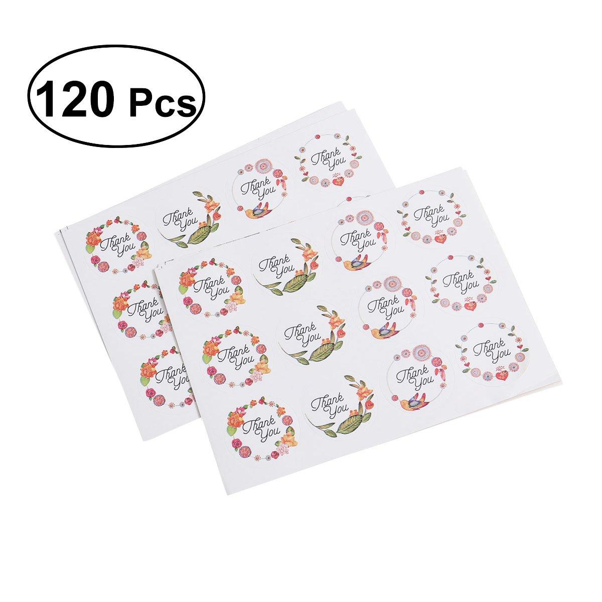 BESTOYARD 120pcs Gracias Etiquetas engomadas de Papel Etiquetas Adhesivas Redondas para los Regalos Que envuelven los Regalos de Boda