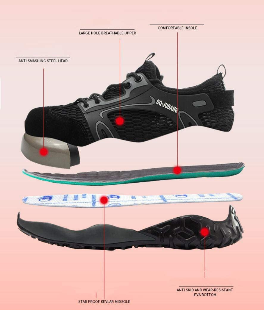 ZYLL Summer Men Indestructible Work Shoes Anti-Collision And Anti-Smashing Breathable Safety Shoes Black