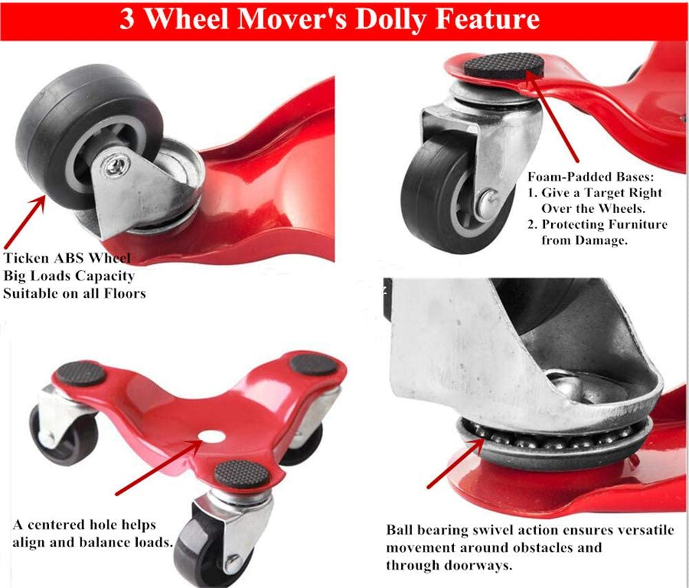 Shop or Garage Easy Moving System for Heavy Loads in Home 2 Pack 300-lbs Load Capacity HutHomery 3 Wheel Furniture Mover/'s Dolly 6-Inch Steel Tri-Dolly
