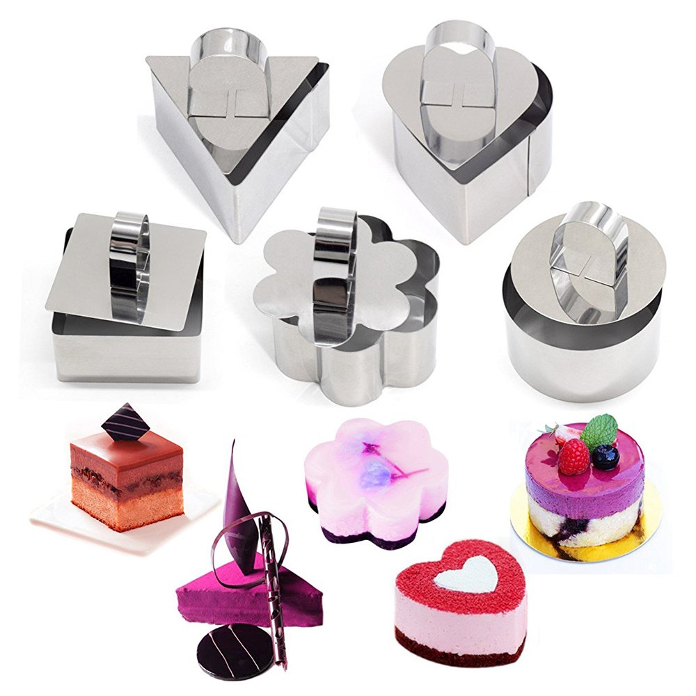 SUPOW Stainless Steel Cake Mold, Heart Dessert Mousse Mold with Pusher Cake Rings for cake, baking, layering, and molding.