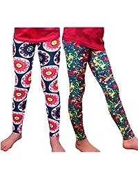 Girl Leggings High Rise Bright Patterns