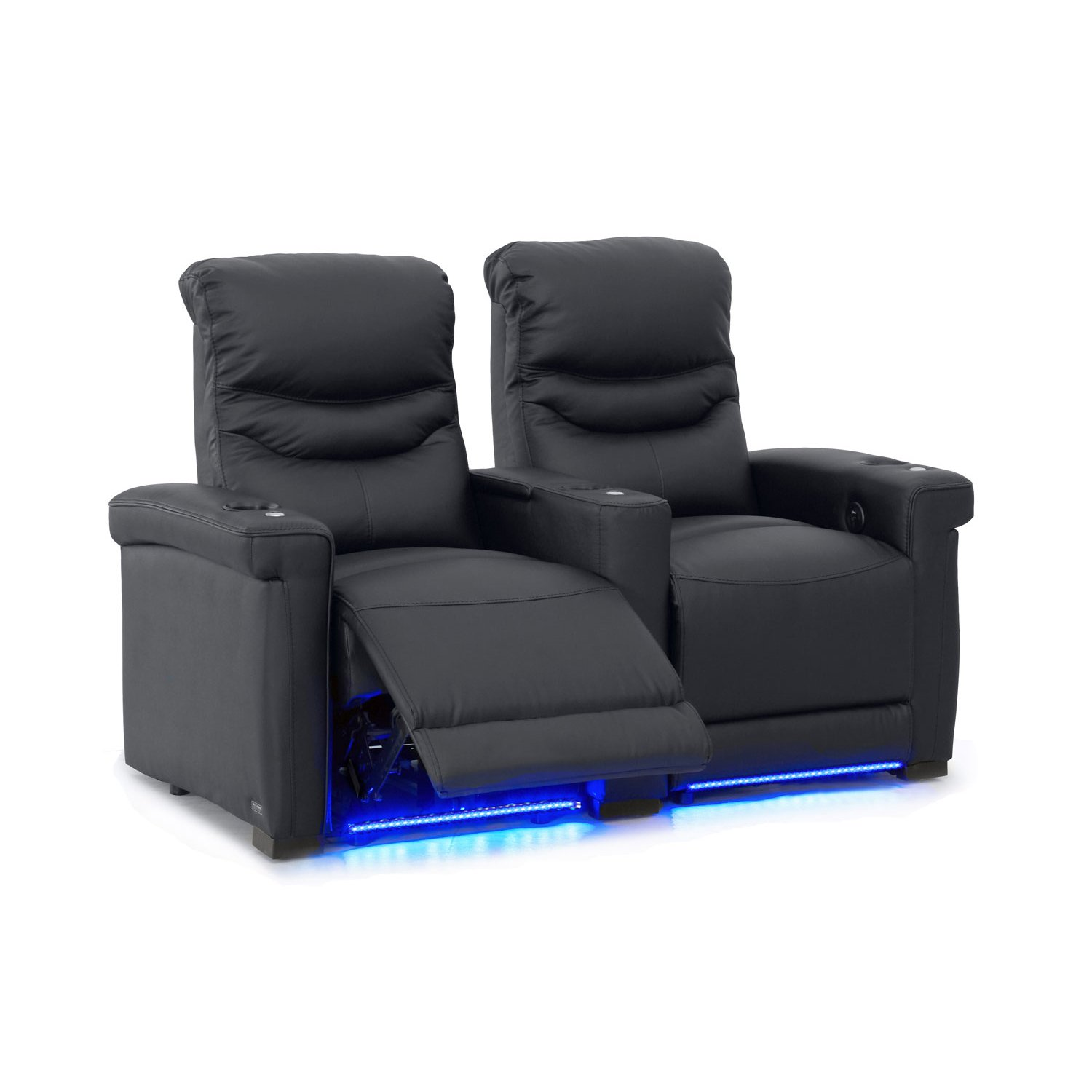 Octane Challenger XS700 Row of 2 Seats, Straight Row in Black Leather with Power Recline by Octane Seating
