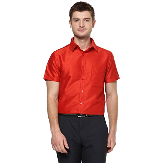 359f3e9ff0beb Khoday Williams Men s Red Poly Silk Solid Regular Fit Shirt (5000004-ORANGE-38