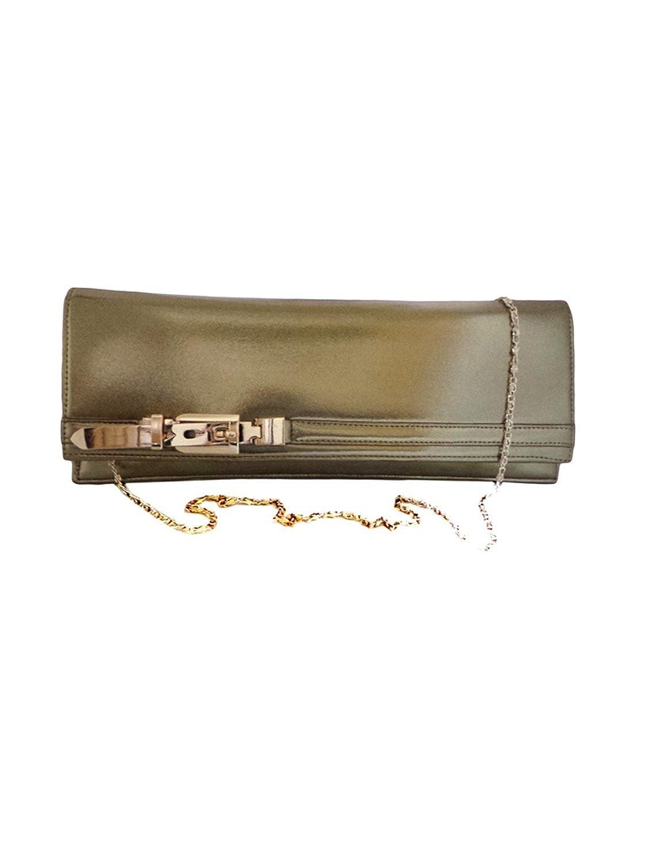 Bhamini Dark Gold Metallic Baguette Clutch with Stylish Belt Fitting