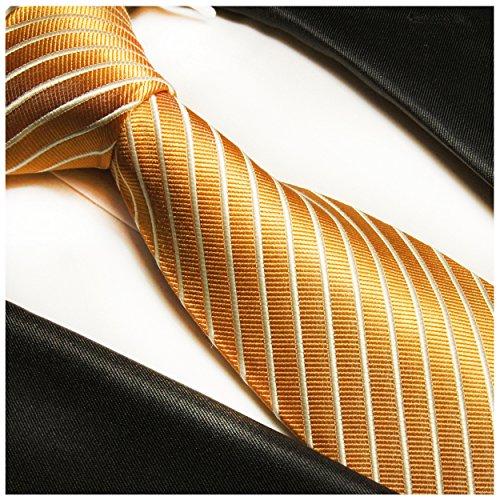 Cravate homme or rayée 100% soie