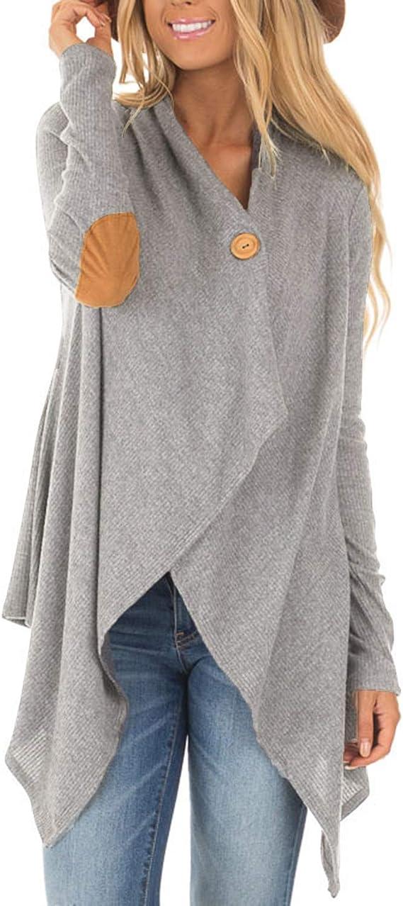 Estilo domo para mujer, manga larga, punto, cárdigan cascada, poncho, manta, chales, borlas, dobladillo irregular, bufanda, suéter, abrigo, tops A-gris claro 36