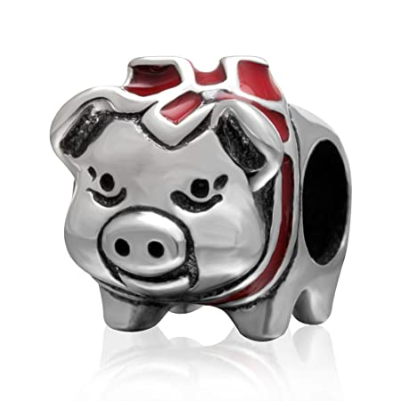 464da16ee Cute Red Pig Piggy Bank Silver Bead Fits Pandora Bracelets Jewellery:  Amazon.co.uk: Kitchen & Home