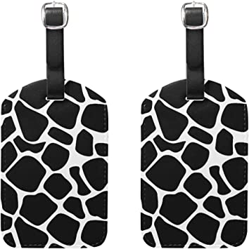Watercolor Leopard Pattern Luggage Tags With Full Back Privacy Cover W//Steel Loops